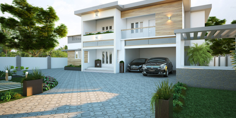 Contemporary Drive away Of The Big Modern House With Roller Shutter Door.